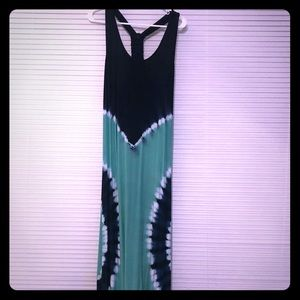 Navy and teal tie dye maxi dress